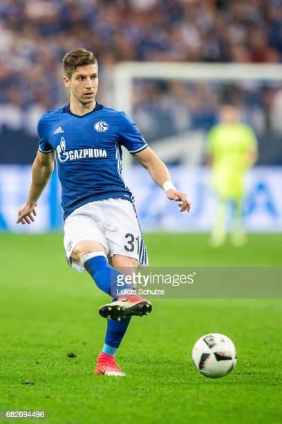 Matija Nastasic of Schalke in action during the Bundesliga match between FC Schalke 04 and Hamburger SV at VeltinsArena on May 13 2017 in...