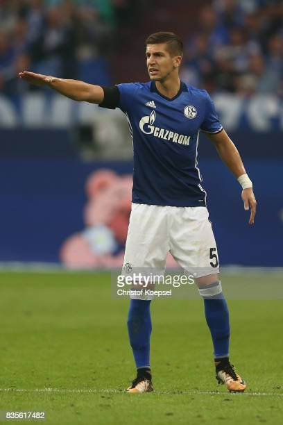 Matija Nastasic of Schalke issues instructions during the Bundesliga match between FC Schalke 04 and RB Leipzig at VeltinsArena on August 19 2017 in...
