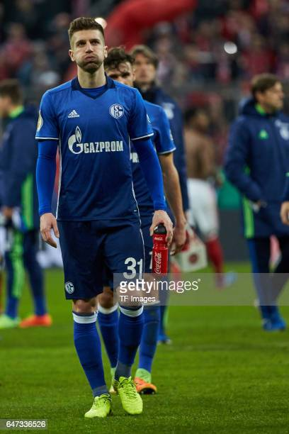 Matija Nastasic of Schalke looks dejected after the DFB Cup quarter final between Bayern Muenchen and FC Schalke 04 at Allianz Arena on March 1 2017...