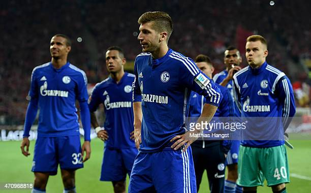 Matija Nastasic of Schalke reacts after the Bundesliga match between 1 FSV Mainz 05 and FC Schalke 04 at Coface Arena on April 24 2015 in Mainz...