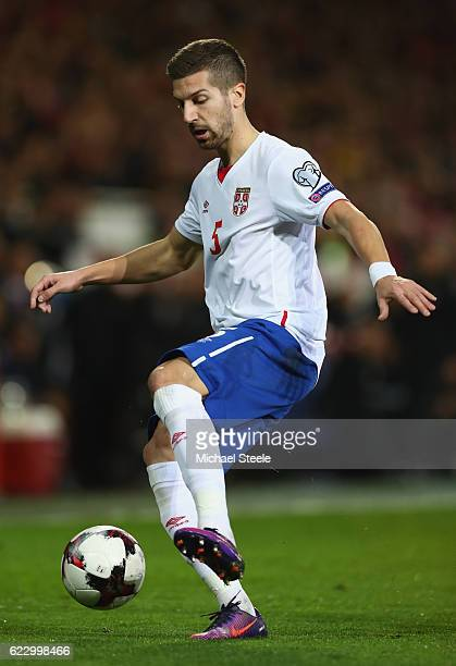 Matija Nastasic of Serbia during the FIFA 2018 World Cup Qualifier between Wales and Serbia at Cardiff City Stadium on November 12 2016 in Cardiff...