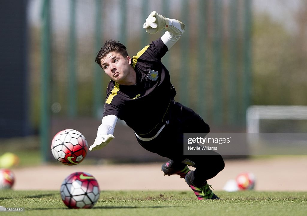 Matija Sarkic of Aston Villa in action during a Aston Villa training session at the club's training ground at Bodymoor Heath on May 06, 2016 in Birmingham, England.