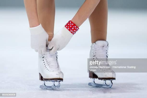 Matilda Algotsson of Sweden skates detail in the Ladies Free Skating during the Nebelhorn Trophy 2017 at Eissportzentrum on September 30 2017 in...