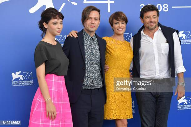 Matilda De Angelis Sebastiano Riso Micaela Ramazzotti and Patrick Bruel attend the 'Una Famiglia' photocall during the 74th Venice Film Festival on...
