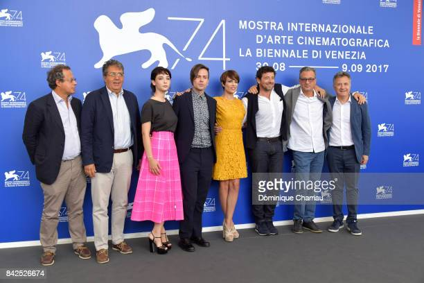 Matilda De Angelis Sebastiano Riso Micaela Ramazzotti Patrick Bruel Fabrizio Donvito and Paolo Del Brocco attend the 'Una Famiglia' photocall during...