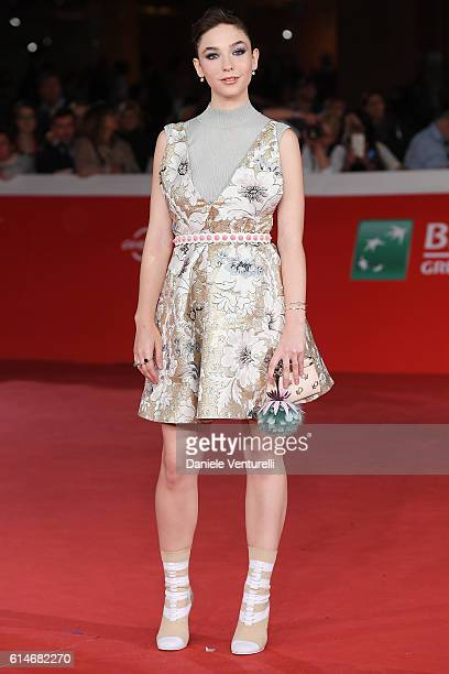 Matilda De Angelis walks a red carpet for 'Snowden' And 'Powidoki Afterimage' during the 11th Rome Film Festival at Auditorium Parco Della Musica on...