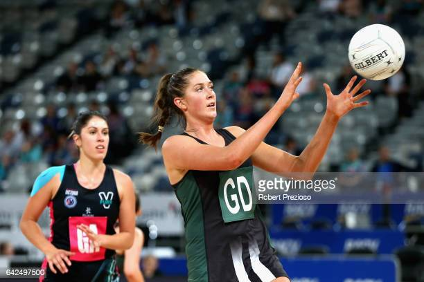 Matilda Garrett of the Magpies gathers the ball during the round one ANL match between at Vic Fury and the Tasmania Magpies at Hisense Arena on...