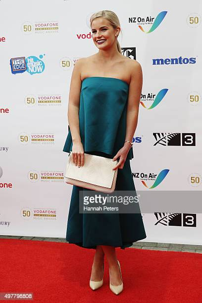 Matilda Rice poses for a photo on the red carpet at the Vodafone New Zealand Music Awards at Vector Arena on November 19 2015 in Auckland New Zealand