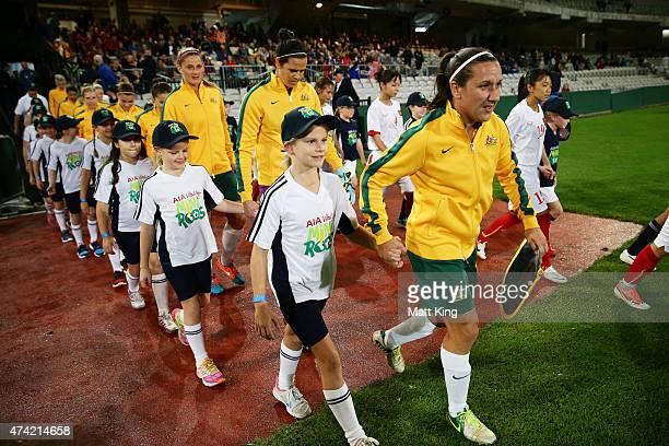 Matildas captain Lisa De Vanna leads out the team during the international women's friendly match between the Australian Matildas and Vietnam at WIN...