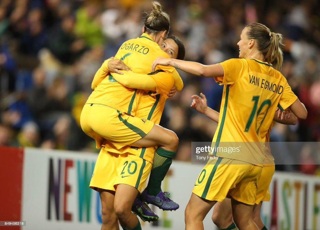 Matildas players celebrate a goal during the Women's International match between the Australian Matildas and Brazil at McDonald Jones Stadium on September 19, 2017 in Newcastle, Australia.