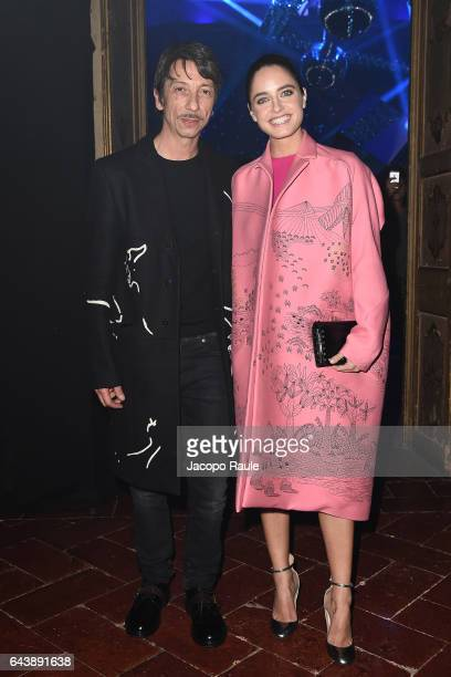 Matilde Gioli and Pierpaolo Piccioli attend Valentino Mirage cocktail during Milan Fashion Week FW17 on February 22 2017 in Milan Italy