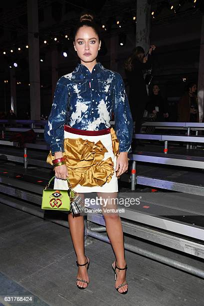Matilde Gioli arrives at the Dsquared2 show during Milan Men's Fashion Week Fall/Winter 2017/18 on January 15 2017 in Milan Italy