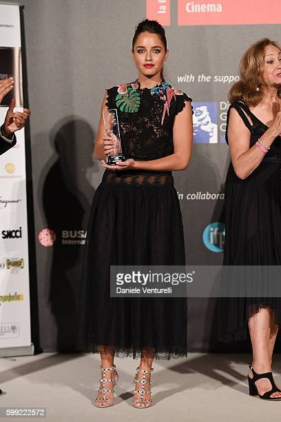 Matilde Gioli poses with best supporting actress Award at the Kineo Diamanti Award Ceremony during the 73rd Venice Film Festival on September 4 2016...