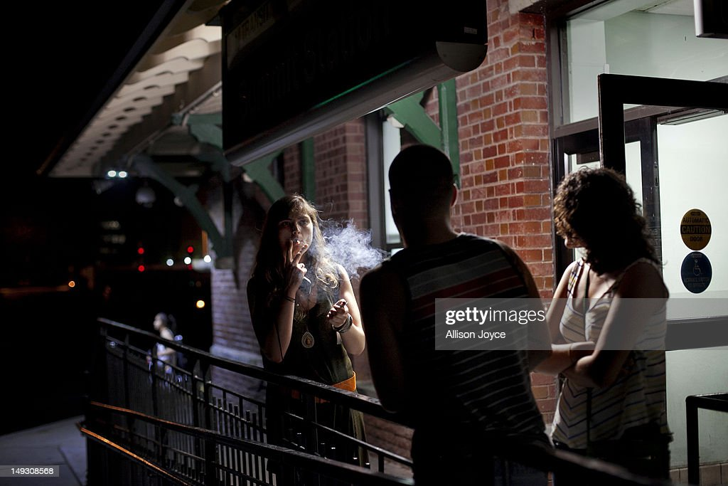Matilde Hoffman smokes a cigarette with friends after getting off the train June 22, 2012 in Summit, New Jersey.Matilda graduated from University of Southern California in December of 2011 with a bachelors degree in neuroscience. Since graduating she has applied to over 30 different jobs, gone on 3 interviews, and had no luck finding a full time job. In the meantime she has been working two part time hostess jobs and volunteering with New York Cares. In June, on a whim, she applied to a one year medical science program at Drexel University at was recently accepted. ''I was tired of the job search. All this looking for a job, volunteering and shuffling around to two part time jobs was getting stressful. If that's the only opportunity I have, if nothing else comes my way, I should do it. If this is what life has brought to me at the moment I should take it.'' she said. From 2000 to 2010 the number of waiters and waitresses ages 18 to 30 with college degrees increased 81 percent according to the U.S. Census Bureau. Educated bartenders, dishwashers in that age group doubled. Recently the Associated Press reported that ''About 1.5 million, or 53.6 percent, of bachelor's degree-holders under the age of 25 last year were jobless or underemployed, the highest share in at least 11 years.''