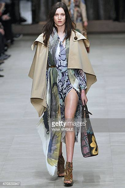 Matilde Lowther walks the runway at the Burberry Prorsum Ready to Wear Fall/Winter 20142015 show at London Fashion Week AW14 at Perks Fields...