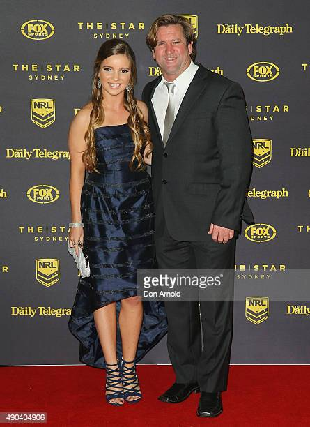 Matisse Hasler and Des Hasler arrives at the 2015 Dally M Awards at Star City on September 28 2015 in Sydney Australia