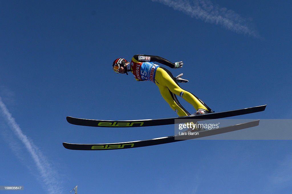 Matjaz Pungertar of Slovenia competes during the trail round for the FIS Ski Jumping World Cup event at the 61st Four Hills ski jumping tournament at Olympiaschanze on December 31, 2012 in Garmisch-Partenkirchen, Germany.