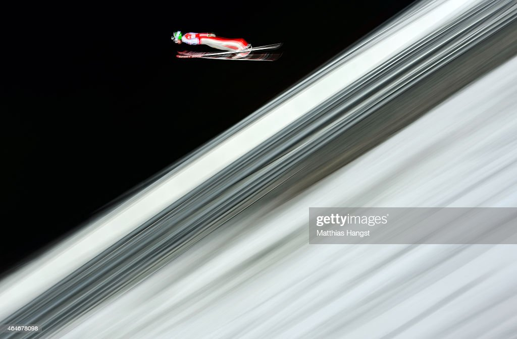 Matjaz Pungertar of Slovenia practices during the Men's Large Hill Team Ski Jumping training during the FIS Nordic World Ski Championships at the...