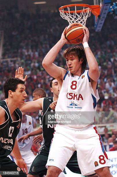 Matjaz Smodis of CSKA Moscow is trapped by the Panathinaikos defence during the Euroleague Final Four Championship game on May 6 2007 at the OAKA...
