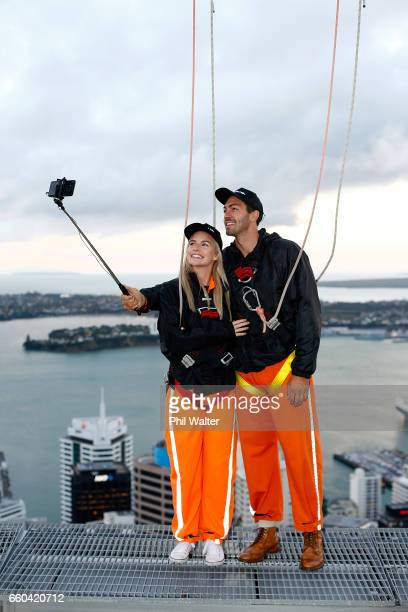 Matlida Rice and Art Green take a selfie on the Samsung S8 on the Skywalk during the Samsung Galaxy Unpacked Launch on March 30 2017 in Auckland New...