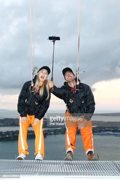 Matlida Rice and Art Green take a selfie on the Samsung S8 on the Skywalk during the Samsung Galaxy Unpacked Launch at the Sugar Club on March 30...