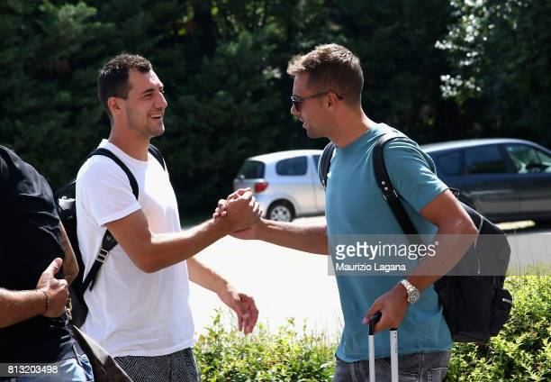 Mato Jajalo of Palermo salutes Thiago Cionek on July 12 2017 in Gradisca d'Isonzo Italy
