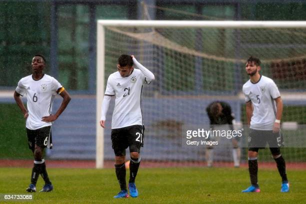 MatondoMerveille Papela Erkan Eyibil and TomJoshua Kinitz of Germany U16 during the UEFA Development Tournament Match between Germany U16 and France...