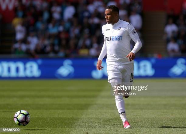 Matrin Olsson of Swansea City in action during the Premier League match between Swansea City and West Bromwich Albion at The Liberty Stadium on May...