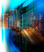 matrix code Blade server is close-up with motiom and blur double exposure night city confusion