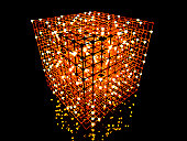 3D rendered Illustration. A glowing grid.