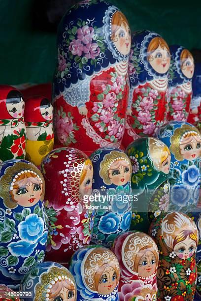 Matryoshka (babushka) dolls for sale at souvenir stand.