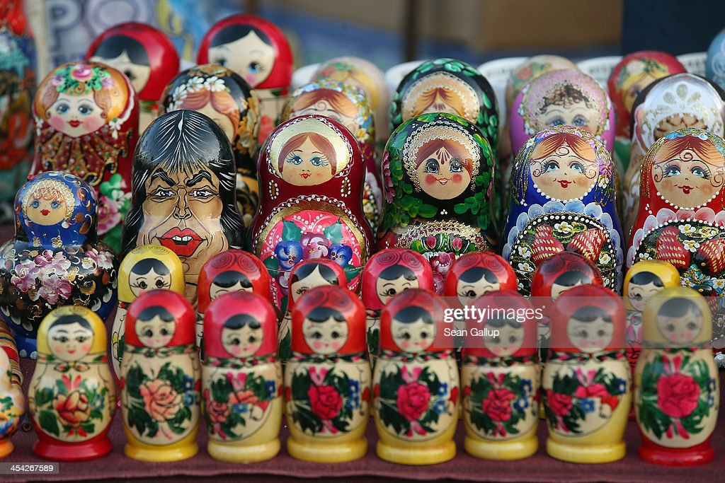 Matryoshka dolls, including one in the likeness of Mick Jagger (L), stand on display at a flea market on December 5, 2013 in Sofia, Bulgaria. Sofia is becoming an increasingly popular tourit destination.