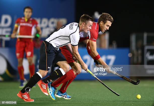 Mats Grambusch of Germany battles with Emmanuel Stockbroekx of Belgium during day 4 of the FIH Hockey World League Men's Semi Finals Pool B match...