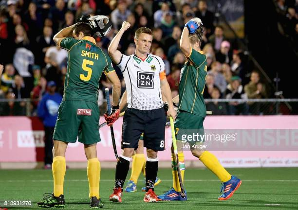 Mats Grambusch of Germany celebrates scoring their teams third goal during day 3 of the FIH Hockey World League Semi Finals Pool B match between...