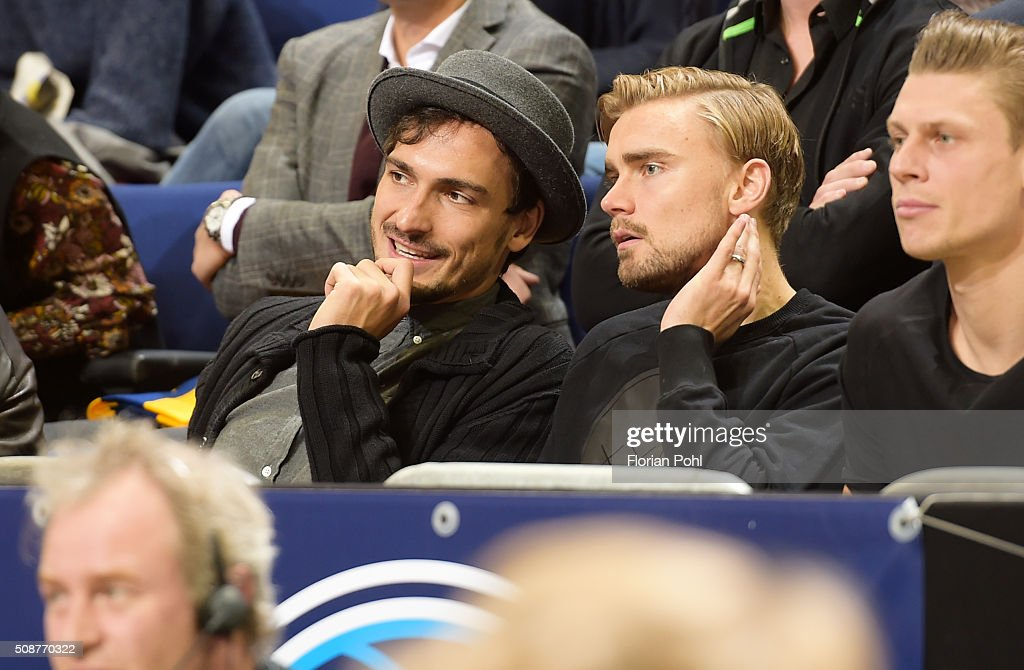 <a gi-track='captionPersonalityLinkClicked' href=/galleries/search?phrase=Mats+Hummels&family=editorial&specificpeople=595395 ng-click='$event.stopPropagation()'>Mats Hummels</a> and <a gi-track='captionPersonalityLinkClicked' href=/galleries/search?phrase=Marcel+Schmelzer&family=editorial&specificpeople=5443925 ng-click='$event.stopPropagation()'>Marcel Schmelzer</a> of Borussia Dortmund during the game between Alba Berlin and the MHP Riesen Ludwigsburg on february 6, 2016 in Berlin, Germany.