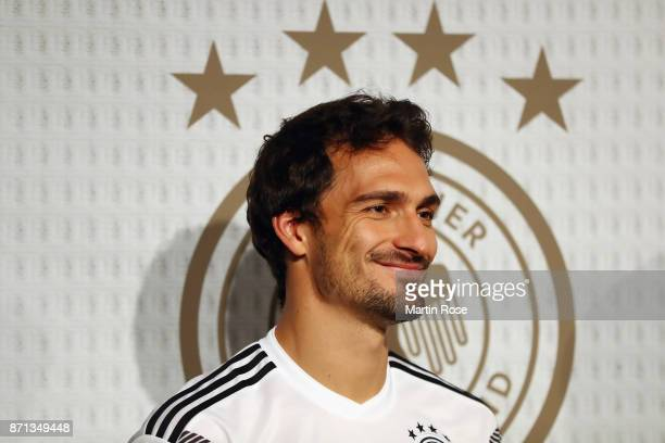 Mats Hummels attends the presentation of the new adidas Germany kit for the 2018 FIFA World Cup Russia at The Base on November 7 2017 in Berlin...