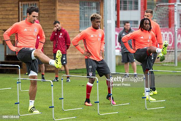 Mats Hummels Kingsley Coman and Renato Sanches in action during a training session of FC Bayern Muenchen on August 5 2016 in Munich Germany