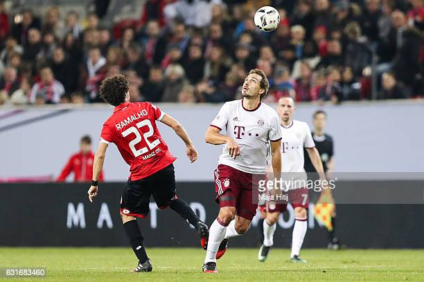 Mats Hummels of Bayern and Andre Ramalho of Mainz fight for the ball during Final Match between Bayern and 1 FSV Mainz 05 during Telekom Cup 2017 a...