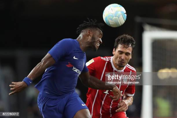 Mats Hummels of Bayern Muenchen battles for the ball with Michy Batshuayi of Chelsea during the International Champions Cup 2017 match between Bayern...