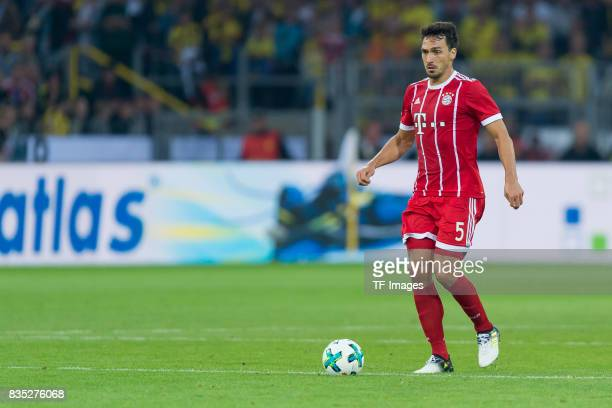 Mats Hummels of Bayern Muenchen controls the ball during the DFL Supercup 2017 match between Borussia Dortmund and Bayern Muenchen at Signal Iduna...