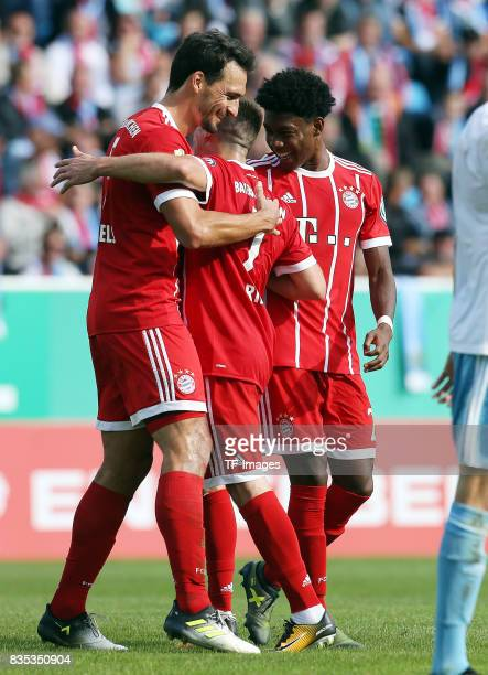 Mats Hummels of Bayern Muenchen Franck Ribery of Bayern Muenchen and David Alaba of Bayern Muenchen celebrate a goal during the DFB Cup first round...