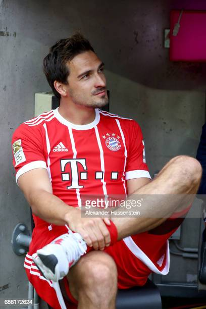 Mats Hummels of Bayern Muenchen looks on prior to the Bundesliga match between Bayern Muenchen and SC Freiburg at Allianz Arena on May 20 2017 in...