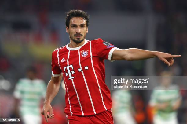 Mats Hummels of Bayern Muenchen reacts during the UEFA Champions League group B match between Bayern Muenchen and Celtic FC at Allianz Arena on...