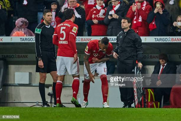 Mats Hummels of Bayern Munich and Jerome Boateng of Bayern Munich during the German Cup semi final soccer match between FC Bayern Munich and Borussia...