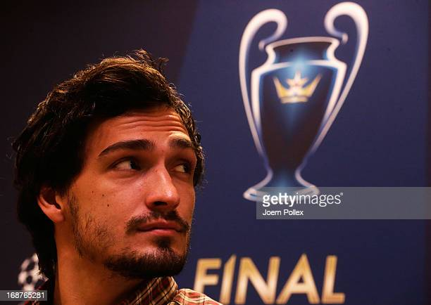 Mats Hummels of Borussia Dortmund attends a press conference during the UEFA Champions League Finalist Media Day at Signal Iduna Park on May 15 2013...