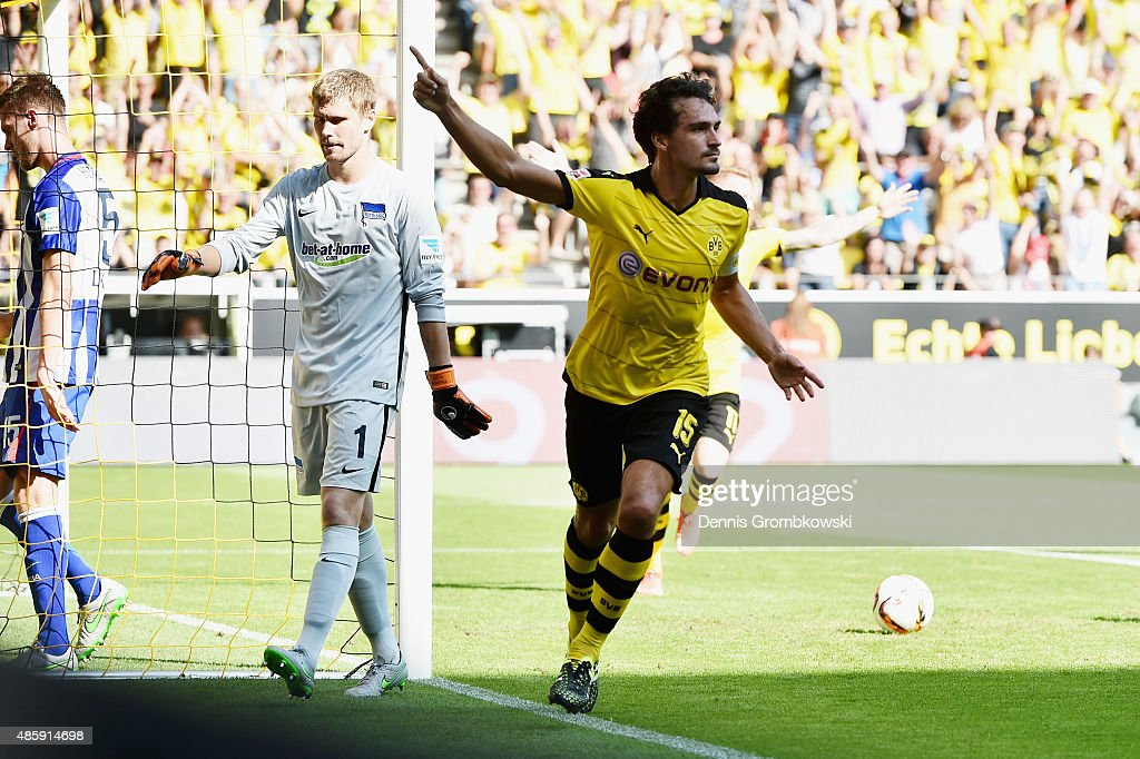 Mats Hummels of Borussia Dortmund celebrates as he heads the opening goal during the Bundesliga match between Borussia Dortmund and Hertha BSC at...