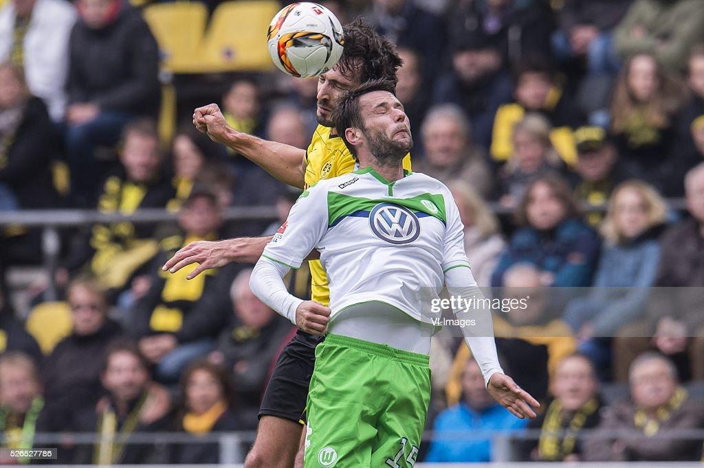 Mats Hummels of Borussia Dortmund, Christian Tr��sch of VFL Wolfsburg during the Bundesliga match between Borussia Dortmund and VfL Wolfsburg on April 30, 2016 at the Signal Idun Park stadium in Dortmund, Germany.