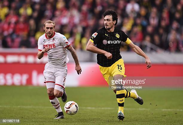 Mats Hummels of Borussia Dortmund controls the ball during the Bundesliga match between 1 FC Koeln and Borussia Dortmund at RheinEnergieStadion on...