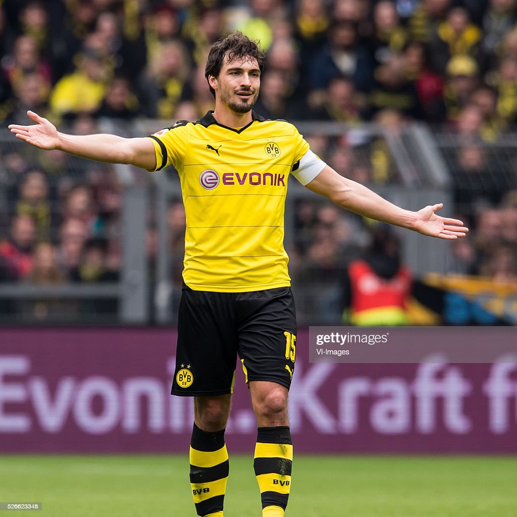 Mats Hummels of Borussia Dortmund during the Bundesliga match between Borussia Dortmund and VfL Wolfsburg on April 30, 2016 at the Signal Idun Park stadium in Dortmund, Germany.