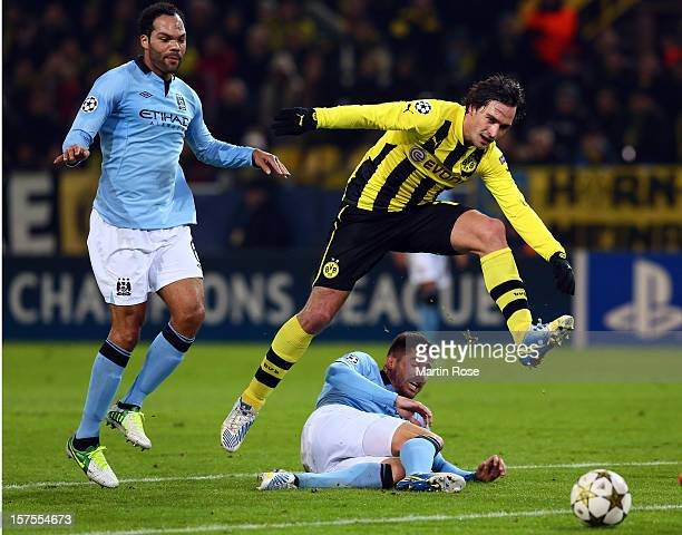 Mats Hummels of Dortmund and Javi Garcia of Manchester battle for the ball during the UEFA Champions League group D match between Borussia Dortmund...